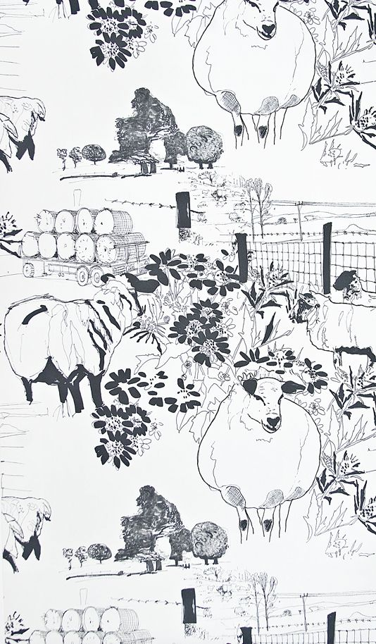 Sheep Wallpaper Off White Wallpaper With Illustrated Sheep And Farm Scenes In Black