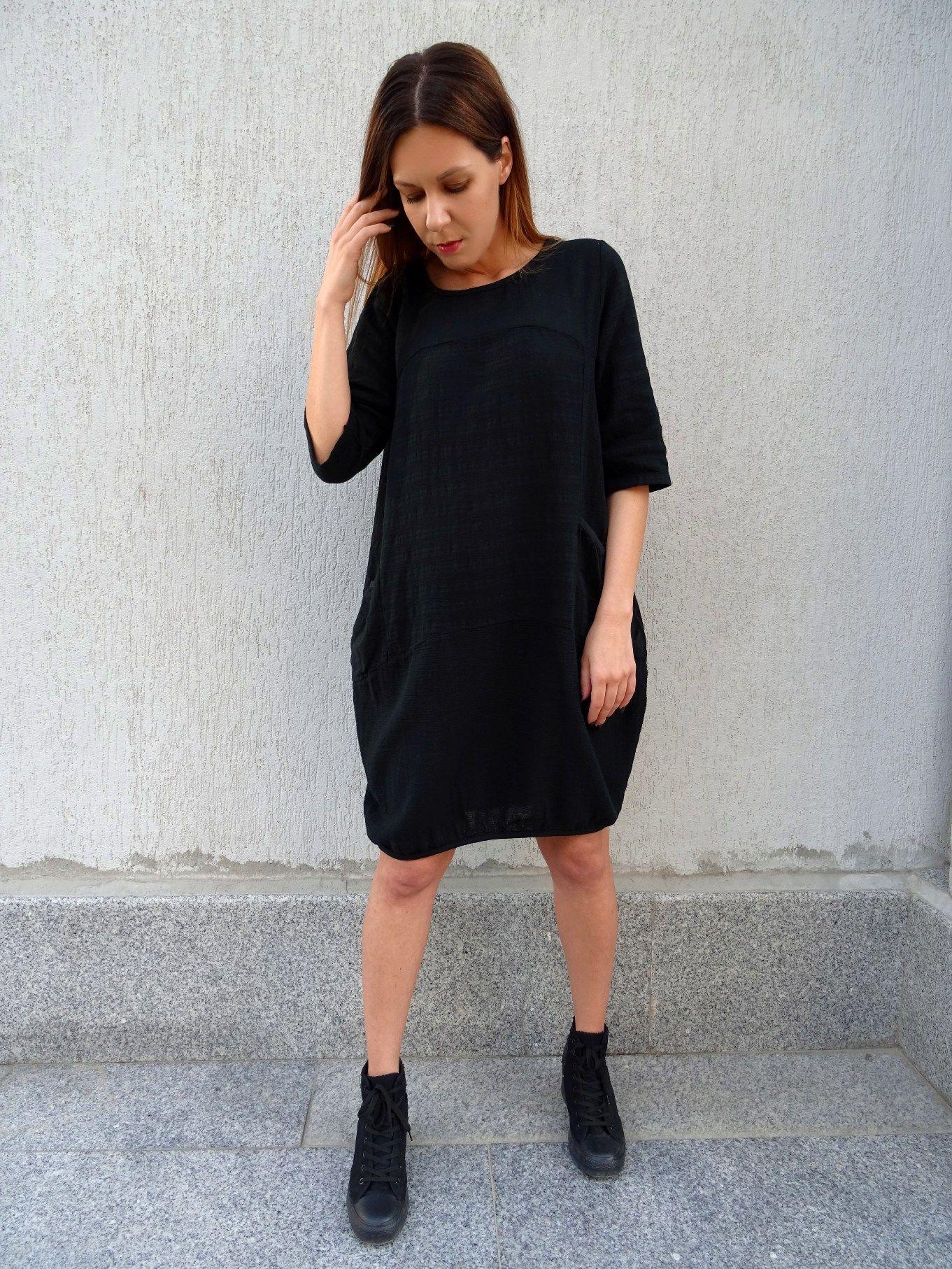 Black dresstunic dressoversize dressplus size dresscotton dress