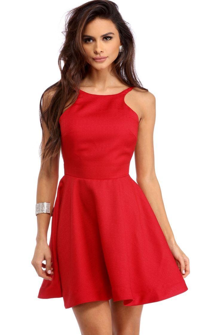 7531f2b910ee Red Backless Skater Dress