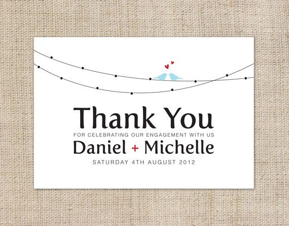 printable diy engagement thank you card custom by cocoelladesigns 1800 - Engagement Thank You Cards