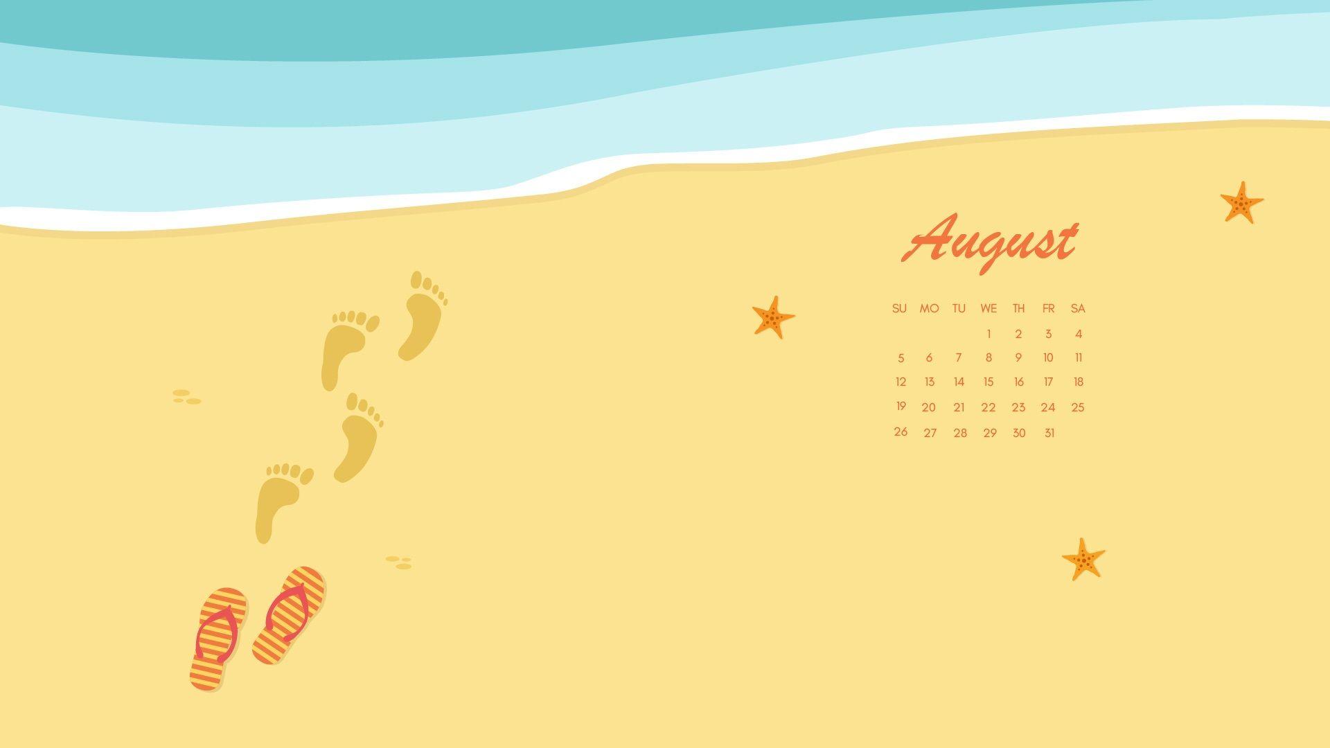 Beach August 2019 Calendar Wallpaper Cute Monthly Calendar