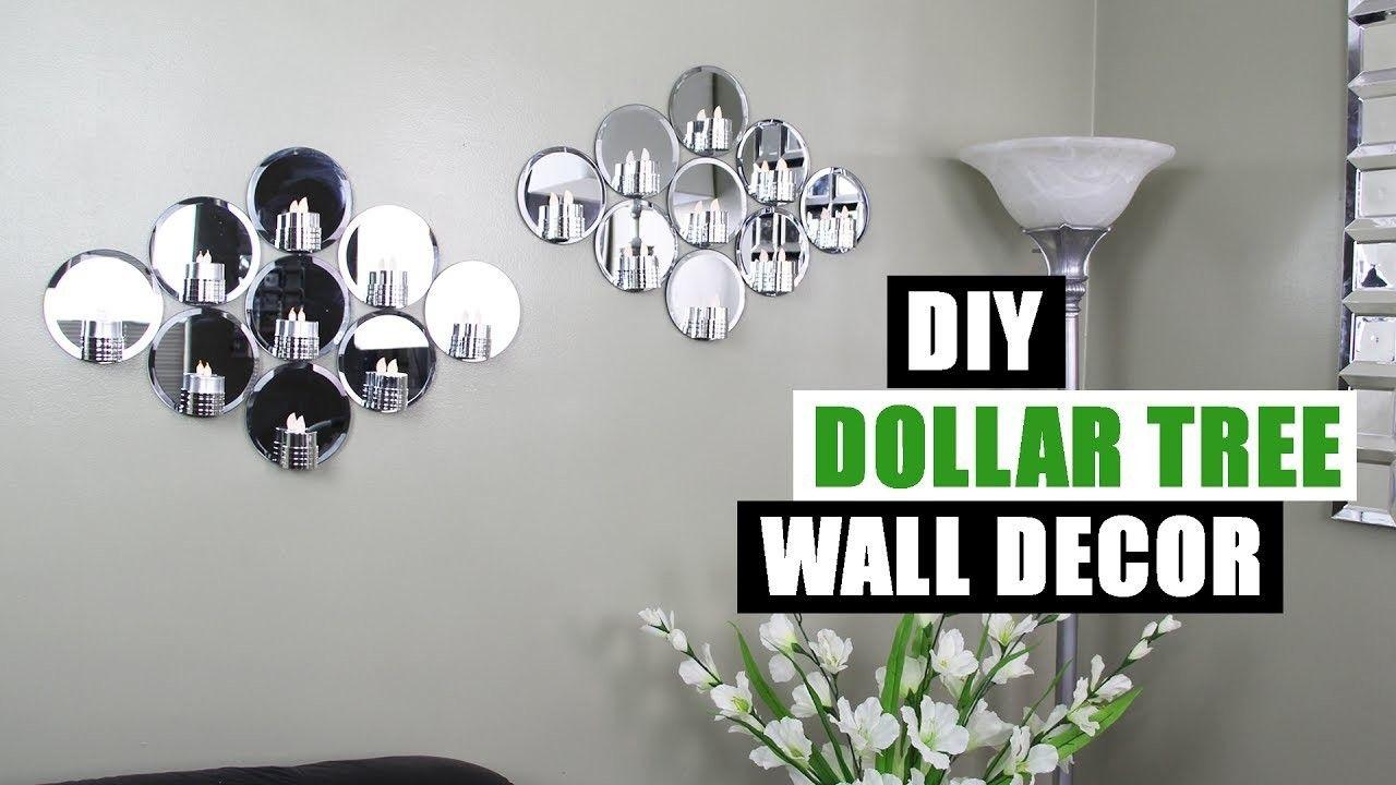 Diy Dollar Tree Mirror Wall Decor Dollar Store Diy Glam Mirror Candle Holder Wall Art Dollar Tree Mirrors Dollar Stores Dollar Store Diy