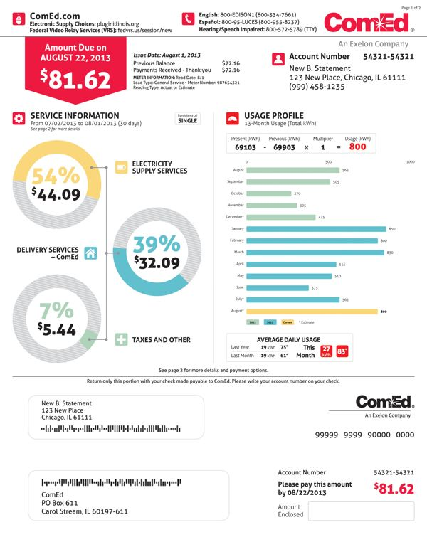 ComEd Residential Billing Statement on Behance billsbillsbills - billing statement