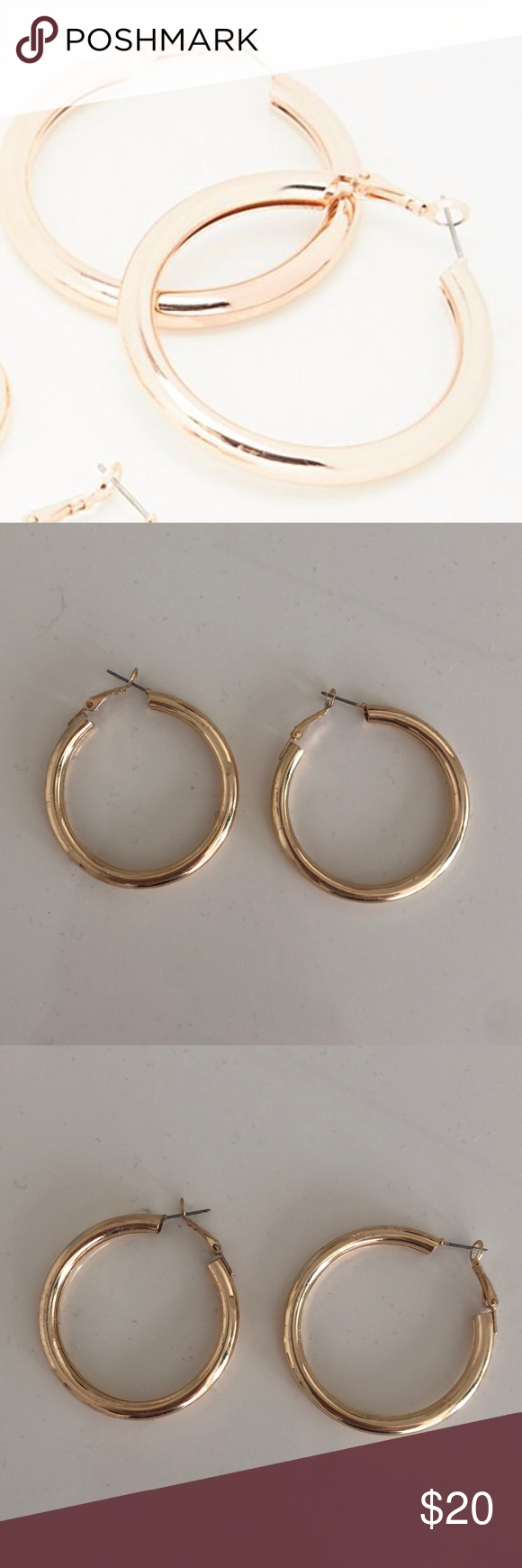 Free People Tube Gold Hoop Earrings