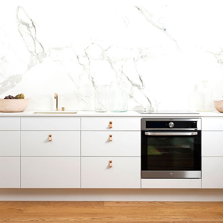A great kitchen with white painted veneer on solid wood floor …