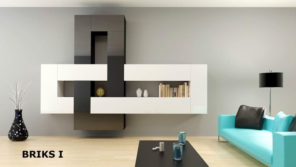 Wohnwand design grau  12-teilige Designer Hochglanz Wohnwand Briks I modulare Anbauwand ...