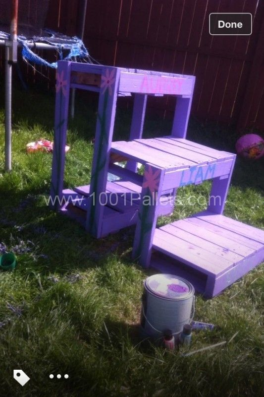 Complete Pallet Garden Set Pallet Ideas 1001 Pallets: Trampoline Stair From Recycled Pallets