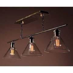 Warehouse of Tiffany LD4012 Amerie 3-Light Island Light, Black w/Gold Accent | Kitchen Island Lighting
