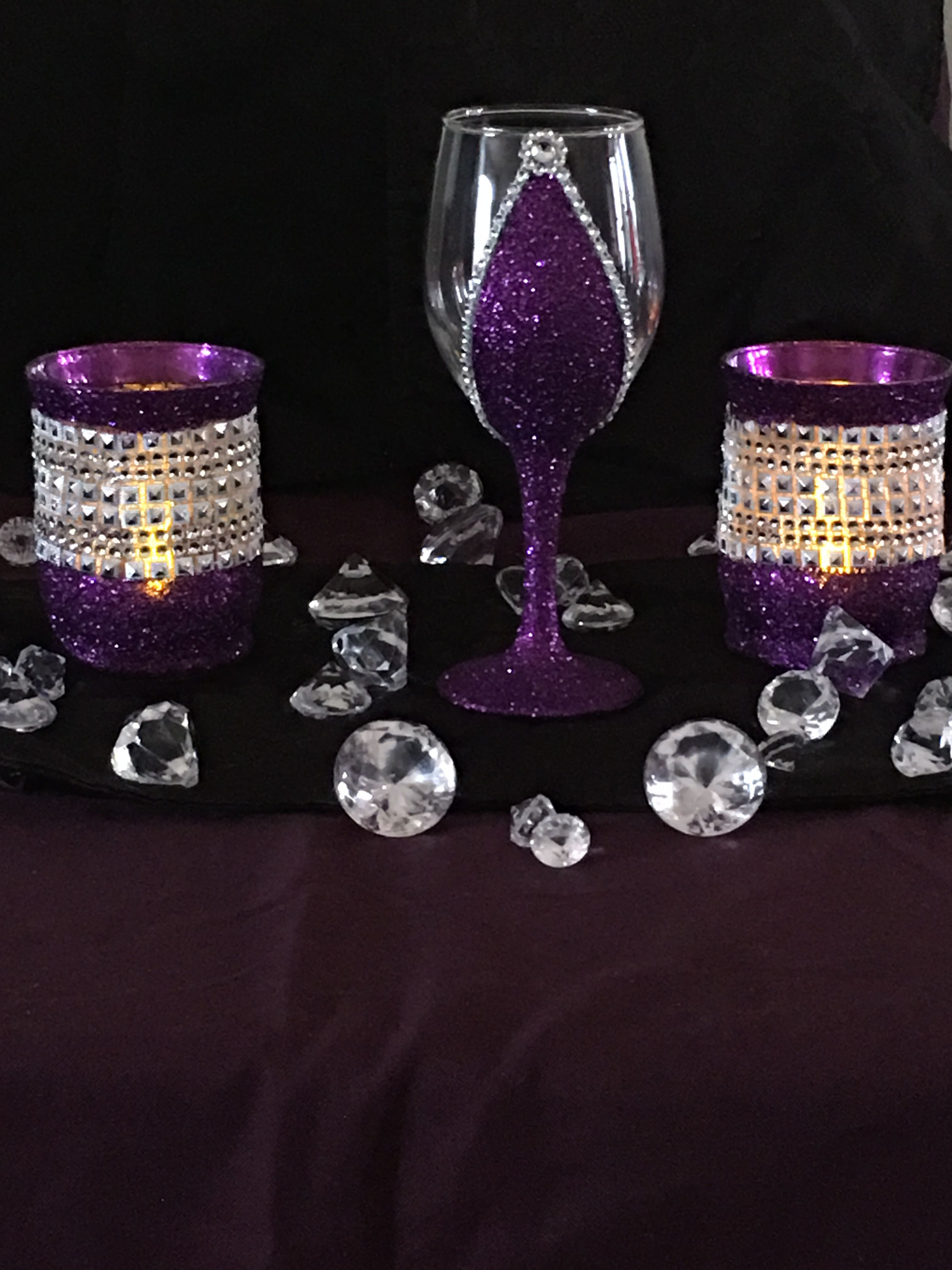 Votive Candle Holder In Left Right Of Wine Glass Diy Candles