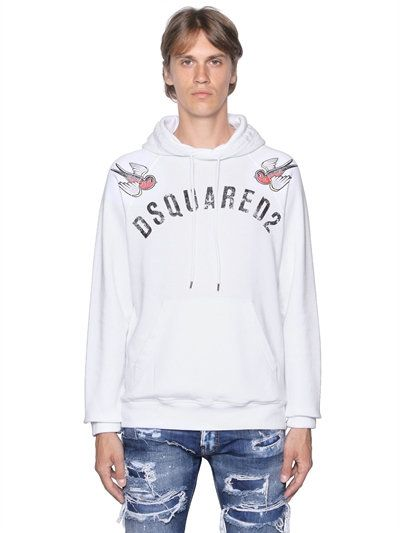 19187310d DSQUARED2 Hooded Birds Printed Cotton Sweatshirt, White. #dsquared2 ...