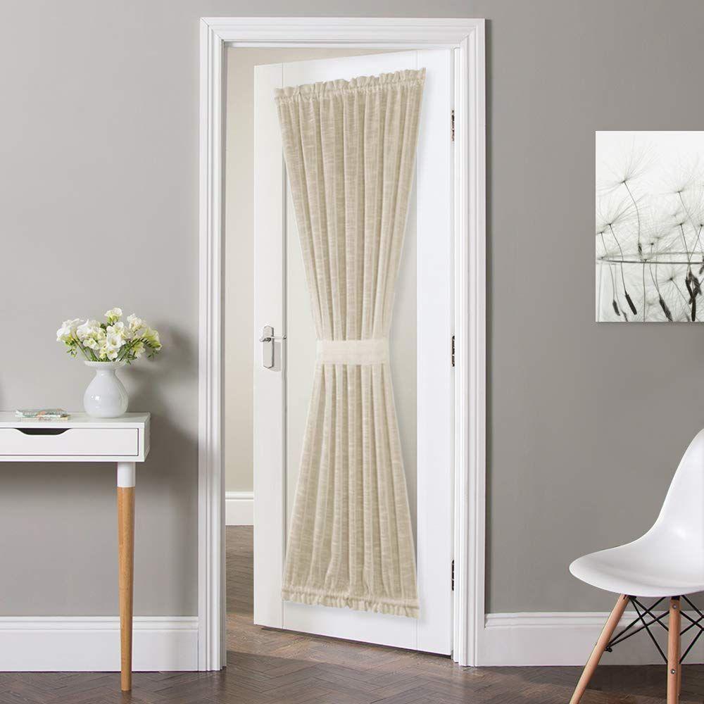 Nicetown Privacy Door Panel Curtain Linen Textured French Door Curtain Semi Sheer French Door Panel Tieba In 2020 Sliding Glass Door Curtains Sheer Curtains