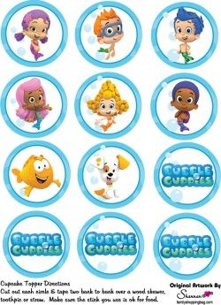 Cupcake Tops Party Decorations Bubble Guppies Birthday Bubble Guppies Party Bubble Guppies Birthday Party