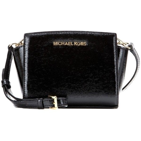 0a355c7e6e9744 Pre-owned Michael Kors Selma Mini Messenger Black Cross Body Bag ($153) ❤  liked on Polyvore