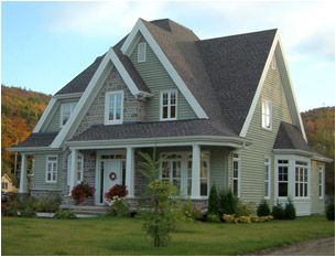 Green Siding White Trim Grey Shingles Fraserwoodsiding