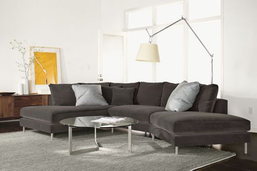 Kaspar Slate Gray Fabric Modern Sectional Sofa - modern - sofas - Chairs 1000 : room and board sectional sofa - Sectionals, Sofas & Couches