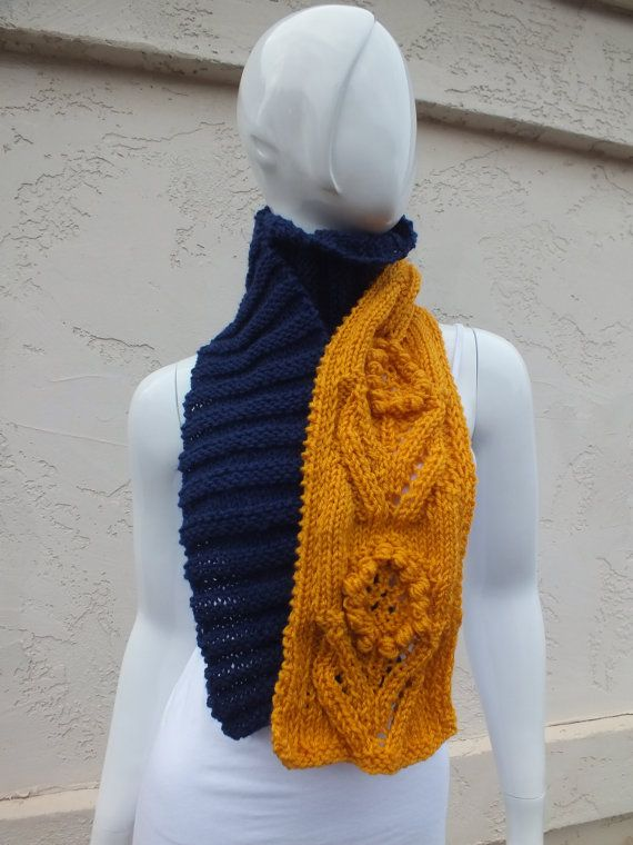 DIJON Scarf  Mustard Yellow and Navy Blue  by SuninVirgoCreations