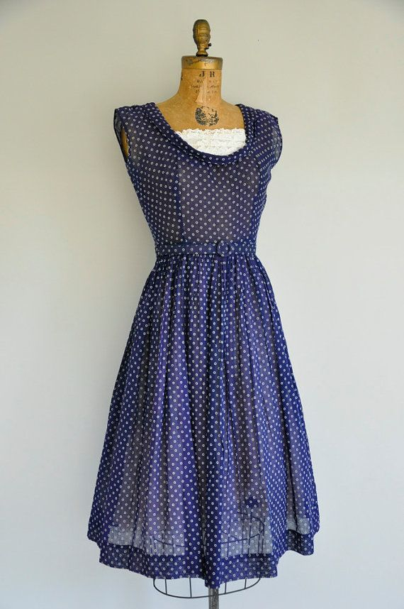 50s vintage dress / 1950s navy blue lace dress / 50s sheer cotton ...