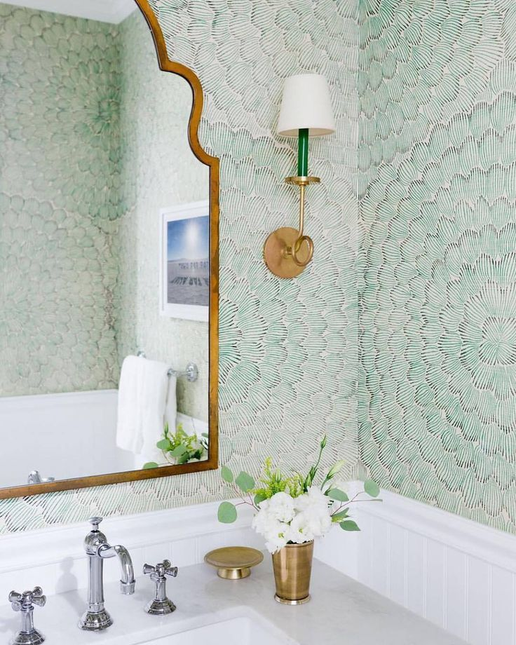 Powder room perfection! Our Feather Bloom printed sisal