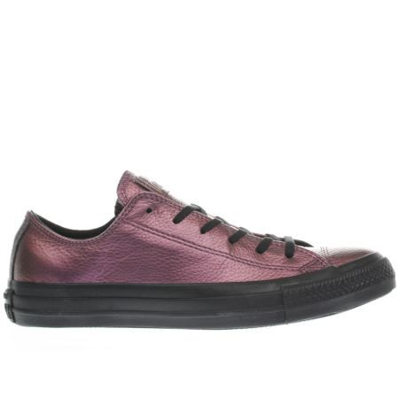 womens converse pink & black all star leather ox trainers