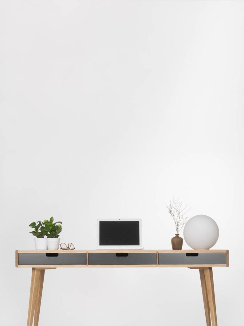 Escritorio De La Computadora Escritorio De Madera Con Cajones Etsy In 2020 Wood Desk Oak Desk Modern White Wooden Desk