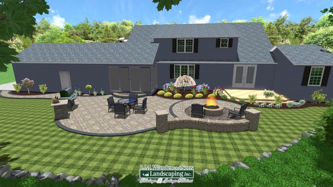 3D Paver patio and landscaping design using Realtime ... on Backyard Landscape Designers Near Me  id=32079