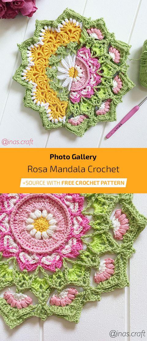 Rosa Mandala Free Crochet Pattern #crochetmandalapattern