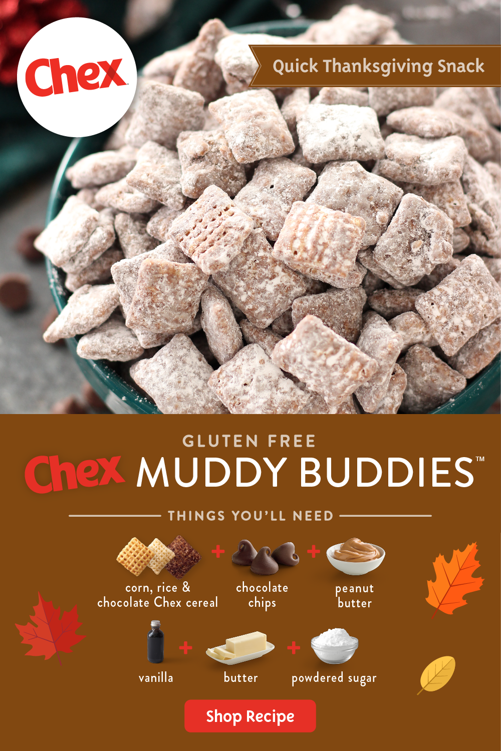 Start With Chex Cereal Powdered Sugar Chocolate Vanilla Butter And Peanut Butter And The Res Easy Holiday Recipes Chex Mix Recipes Chex Recipes