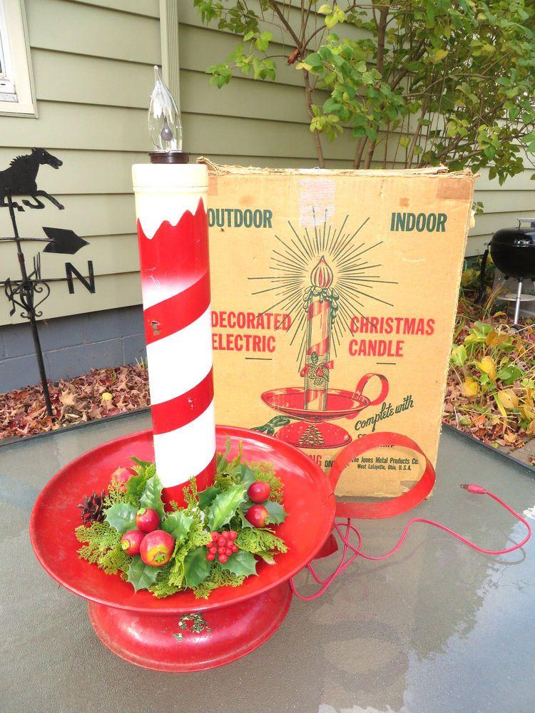 Large Vtg Electric Christmas Candle Box Jones Metal Abolite