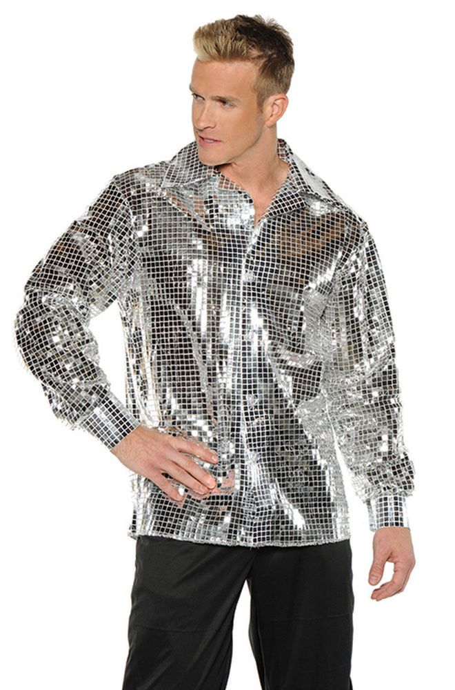 f5cc9d8f This Adult Silver Sequin Disco Ball Shirt includes the collared shirt in a  dazzling, sparkling silver cloth that's sure to draw every eye!