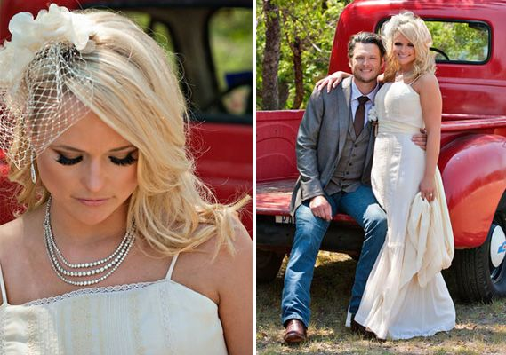 40 Wedding Hairstyles For Long Hair That Really Inspire: Miranda Lambert Wore Her Hair Down In Waves With Her Bangs