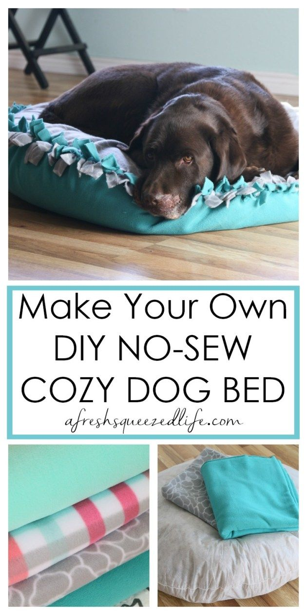 HOW TO MAKE A DIY NO SEW DOG BED (With images) Fleece