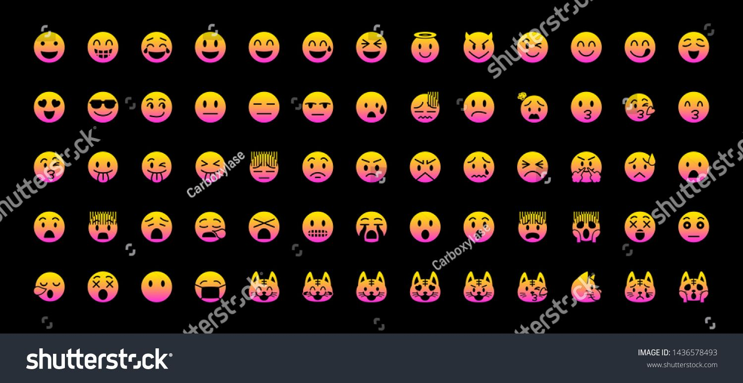 All face emojis emoticons emotions flat vector illustration symbols Faces feelings situations shy embarrassed smile mood joke lol laugh cry happy icons