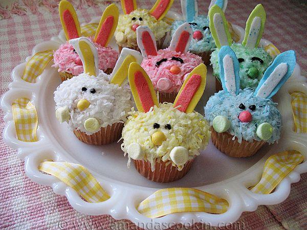 Easter Bunny Cupcakes AmandasCookin.com @amandaformaro