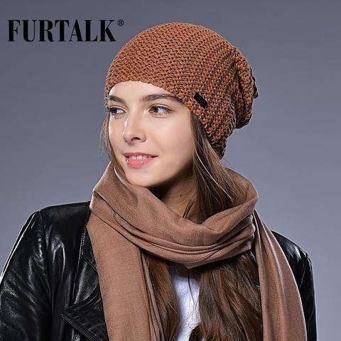 18d5fe02815 FURTALK Woman Knitted Beanie Hat Caps Autumn Winter Wool Hats for Women  Slouchy Hat Female Fashion Girls Hats