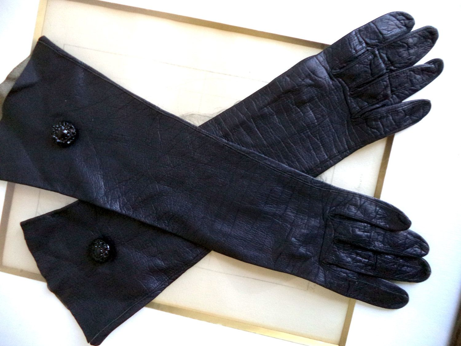 Vintage ladies leather opera gloves - 1950s Long Black Gloves Kid Leather Size 6 Tailored Germany Retro Small Opera Cocktail Dress Mid Elbow Button Womens Accessories Gloves
