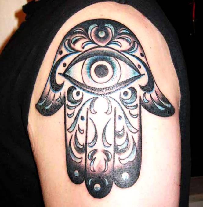 Evil Eye Hand Tattoo