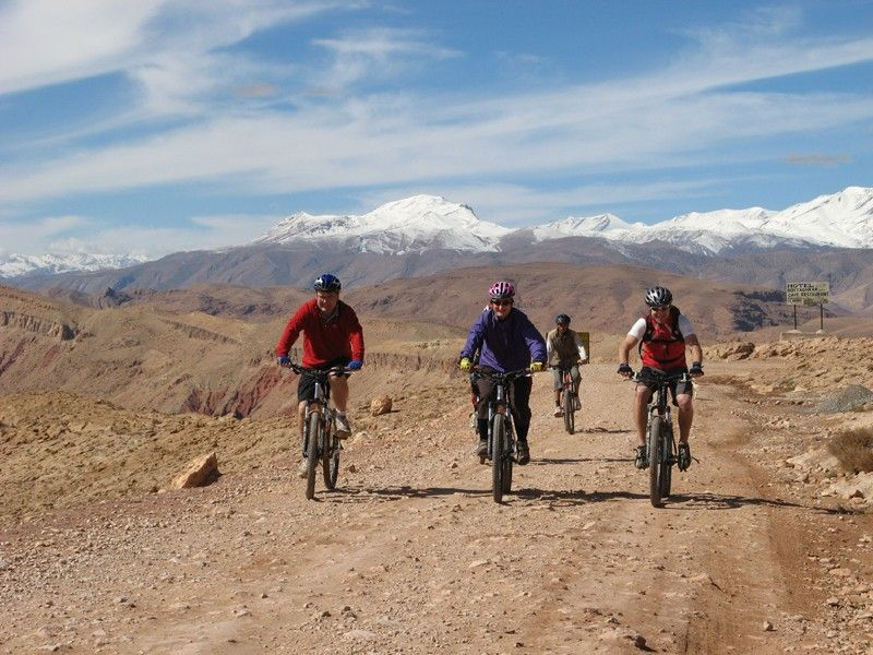 Bikers on top of pass above Boulmane-Dades, Atlas Mountains. Jebel M\