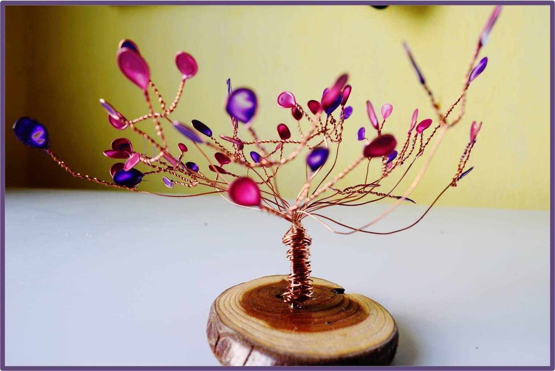Arbol de la vida hecho con alambres de cobre una rodaja - Alambre de cobre ...