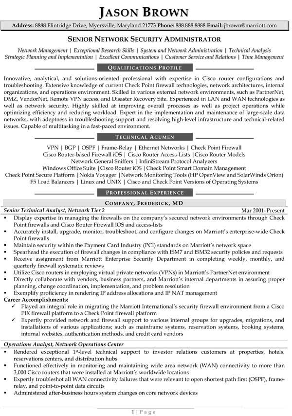 Senior Network Administrator Resume (Sample) Resume Samples - sample hotel security resume