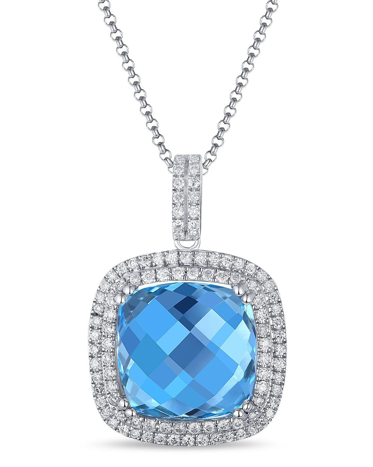 Diana m jewels 14k white gold cushion cut blue topaz diamond diana m jewels 14k white gold cushion cut blue topaz diamond pendant necklace aloadofball Images