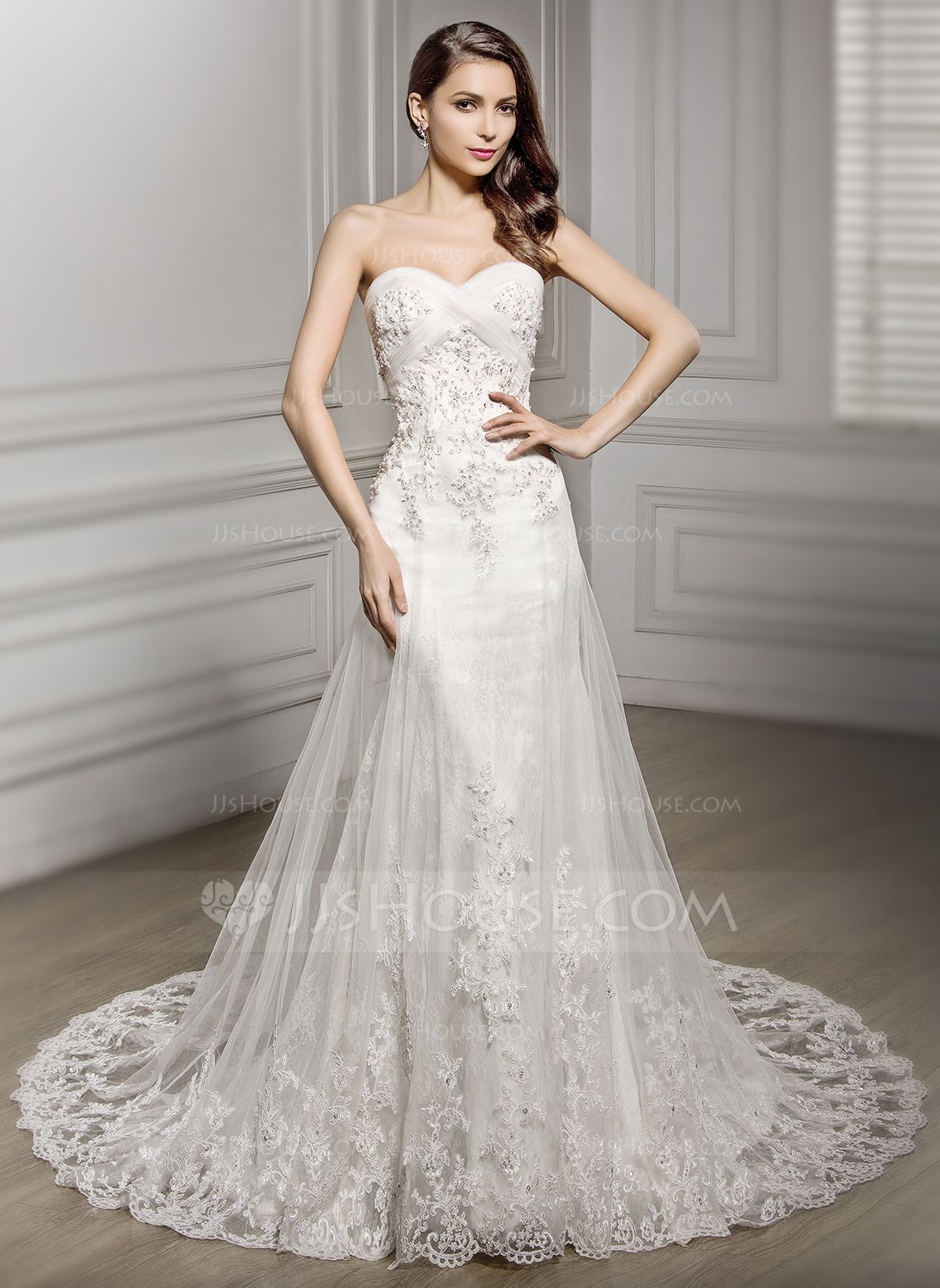 Cathedral wedding dress  TrumpetMermaid Sweetheart Cathedral Train Tulle Lace Wedding Dress