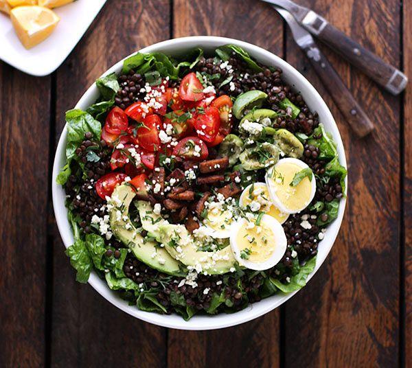 Vegetarian Cobb Salad Lentil Bowl - SoupAddict.com