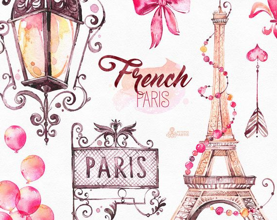 French Paris Watercolor Clipart Shoes Fashion Bulldog Eiffel Tower France Baloons Arrow Bow Gift Glam Stickers Romantic Diy