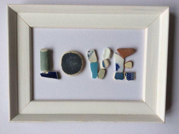 Amore foto al mare, segno, spiaggia arredamento, regalo surfista, arte ceramica spiaggia, Seaglass mosaico