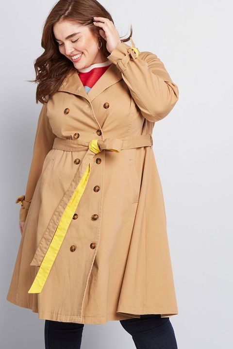 Dkny Plus Size Double-Breasted Faux-Leather-Trim Trench