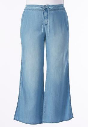 dc2f079e0d Cato Fashions Slit Wide Leg Chambray Pants-Plus  CatoFashions