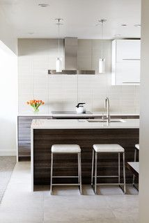I Like The Horizontal Grain White Countertop And Tile Backsplash North Of Nell Modern Kitchen Denver Anne Grice Interiors