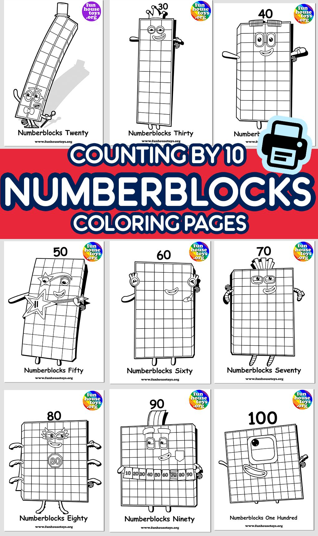 New Numberblocks 100 Available As Coloring Printable For Kids Print Ready Numbers For Kids Fun Printables For Kids Coloring Pages