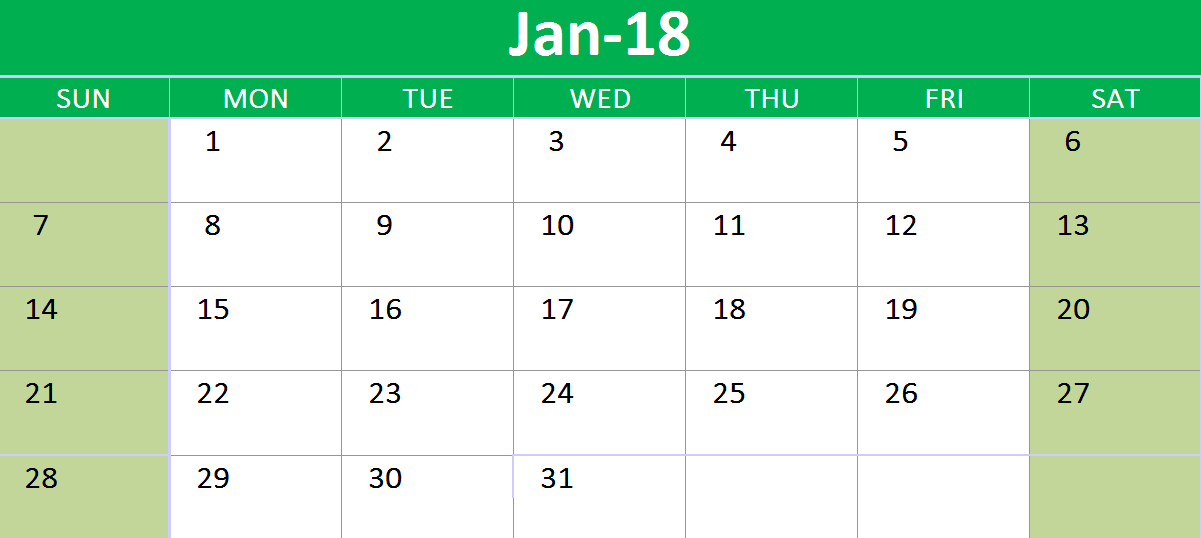 2018 google sheets calendar all months