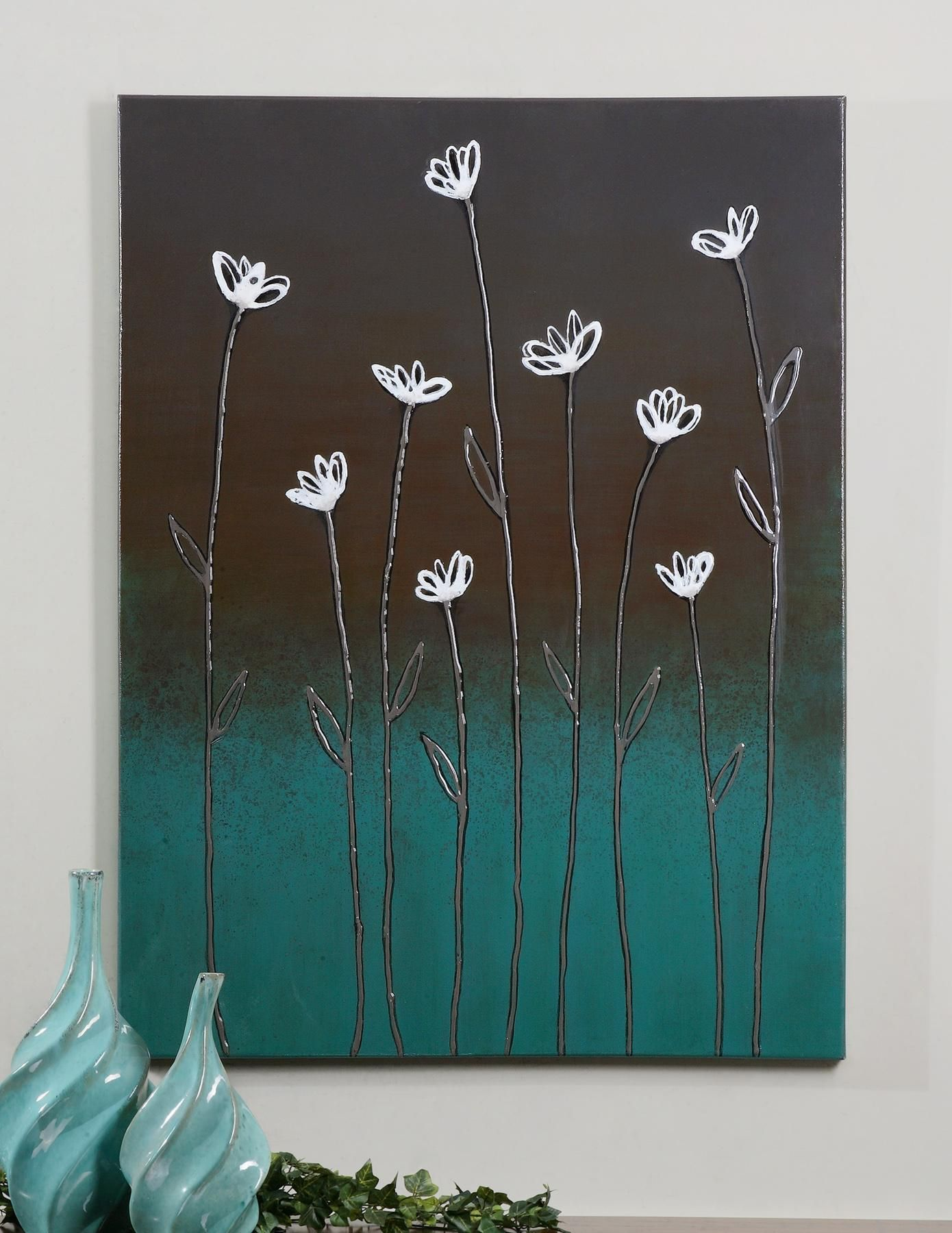 This frameless, hand painted artwork is painted on canvas, then stretched and applied to wooden stretchers. Features a high gloss finish.
